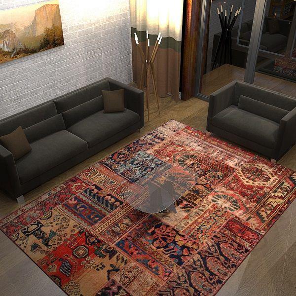 Persian Patchwork Rug Vintage Oriental