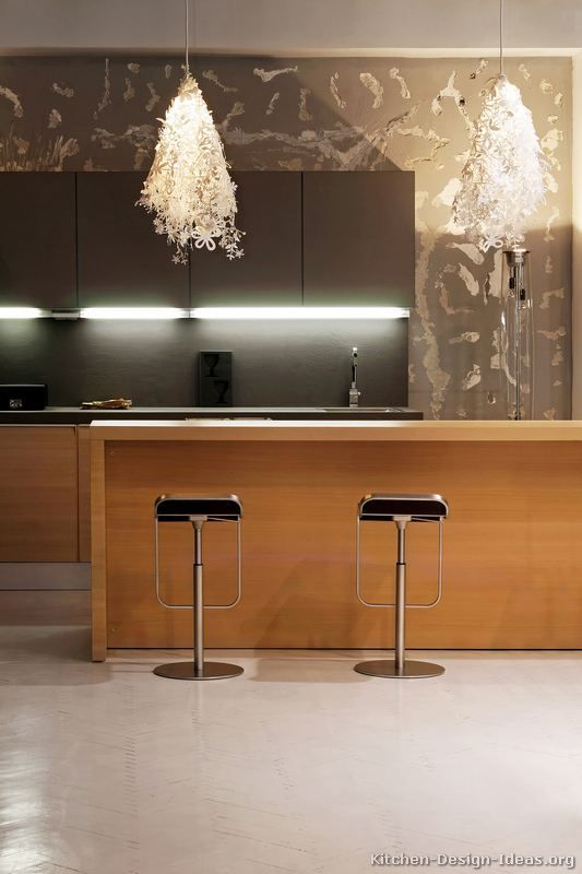 Of The Day A Modern Kitchen With Unique Snowflake Pendant Lights An Island Bar And Two Tone Cabinets In Light Wood Graphite Gray Color Scheme