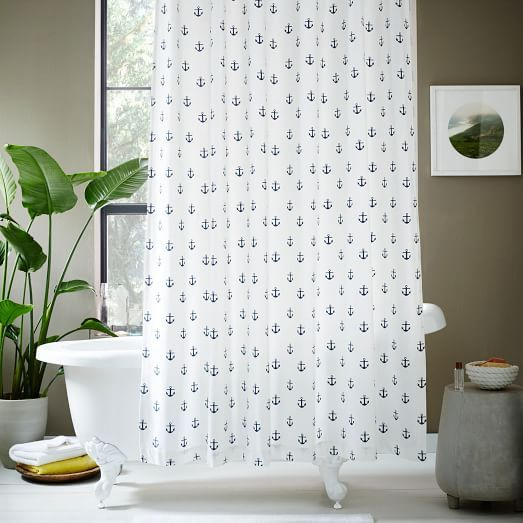 Anchor Shower Curtain Midnight West Elm Anchor Shower
