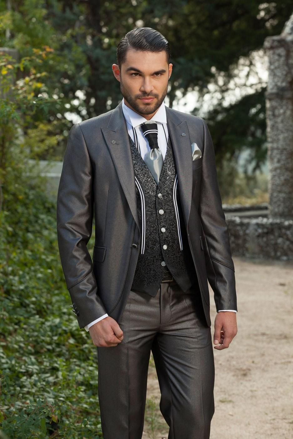 Find More Suits Information About New Slim Fit Groom Tuxedos Shiny Grey Best Groomsman Wedding