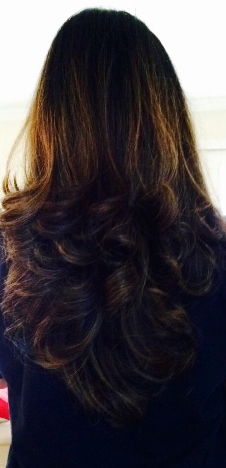 New Haircut With V Shape Bottom Long Layers And Grown Out Carmel