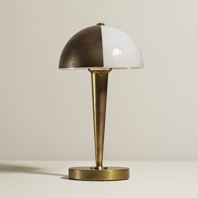 Jean perzel table lamp france 1929 lacquered brass frosted glass · streamline moderneantique