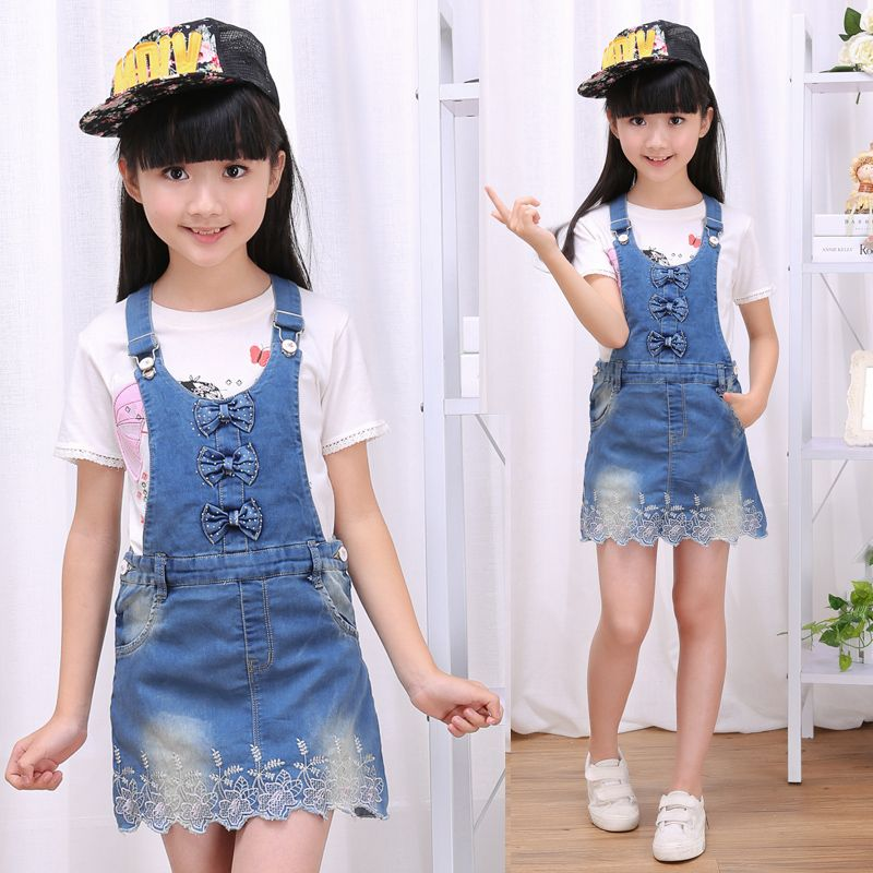 New Fashion 2017 Spring Autumn Baby Girls Overalls Summer Clothes Children  Cotton Denim Strap Dresses Jeans Bow Sling Dress fed33585490a