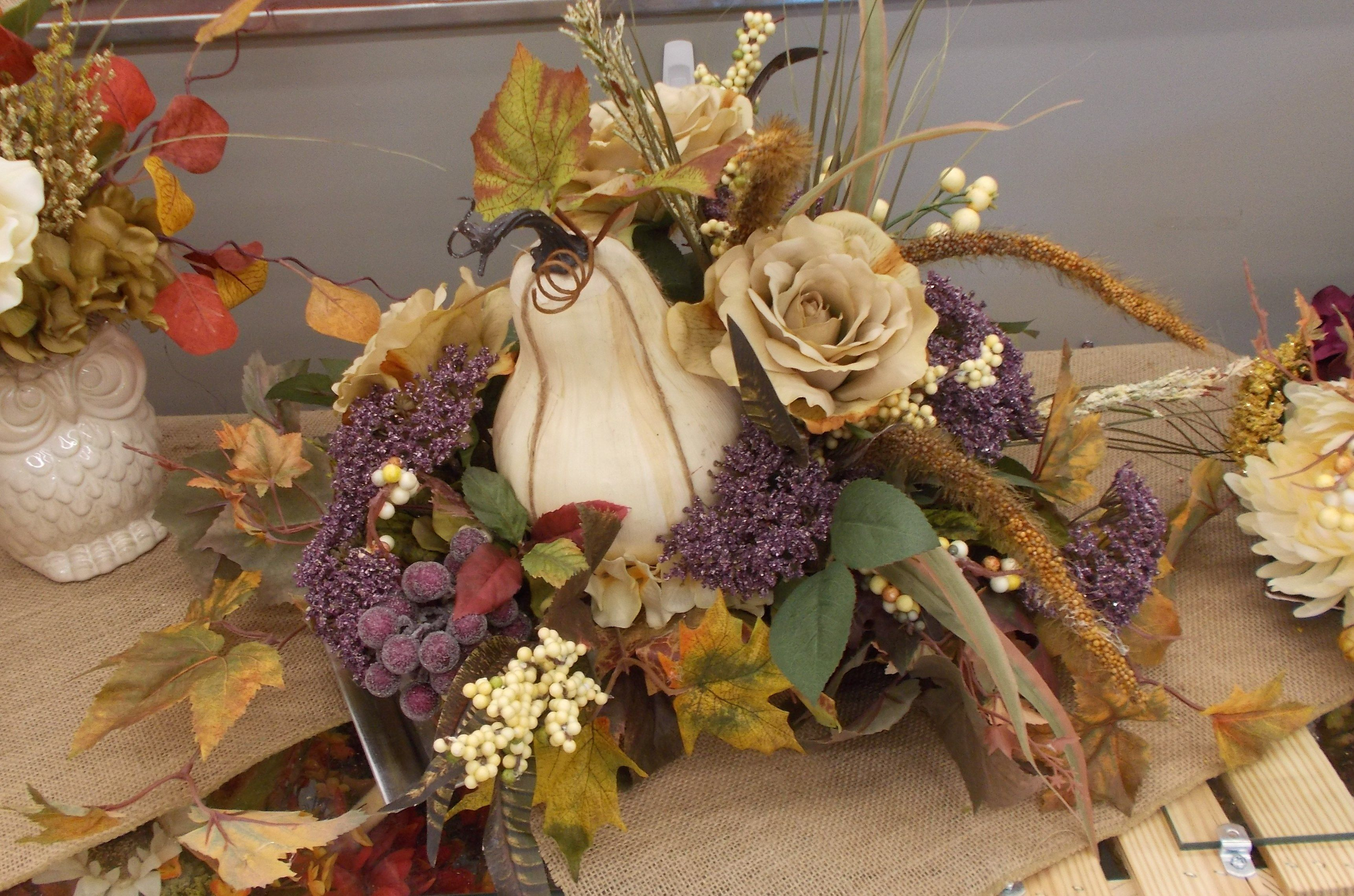 Cream and grape centerpiece sherrie 2015 fall floral