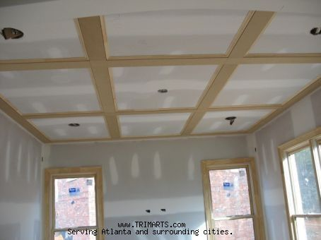 Ceiling With 1x4 Flat Beams Trim And Cabinets In