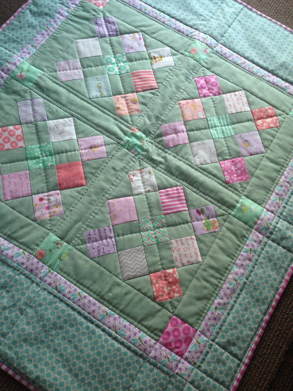 """Very pretty Posy Baby quilt by Susan Snooks from PatchworknPlay using a pattern by Sherri Lambert McConnell from AQuiltingLife.  """"I did some simple """"in the ditch"""" machine quilting first, then finished by hand quilting with #Aurifil wool thread!""""  To see more please visit http://patchworknplay.blogspot.com/2014/02/posy-baby.html"""