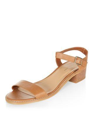 08f1735e994df Tan Low Block Heel Sandals