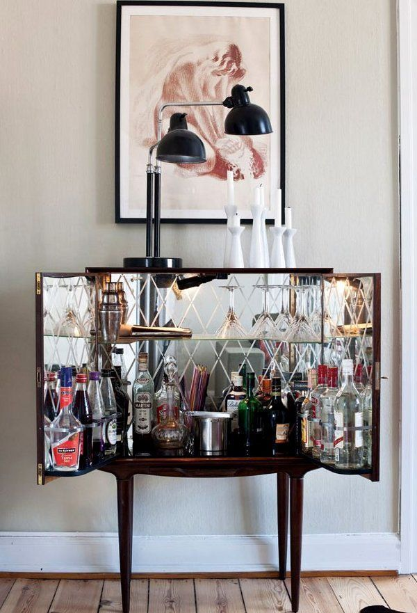Compact home bar furniture cabinet hinges open with mirrored back ...