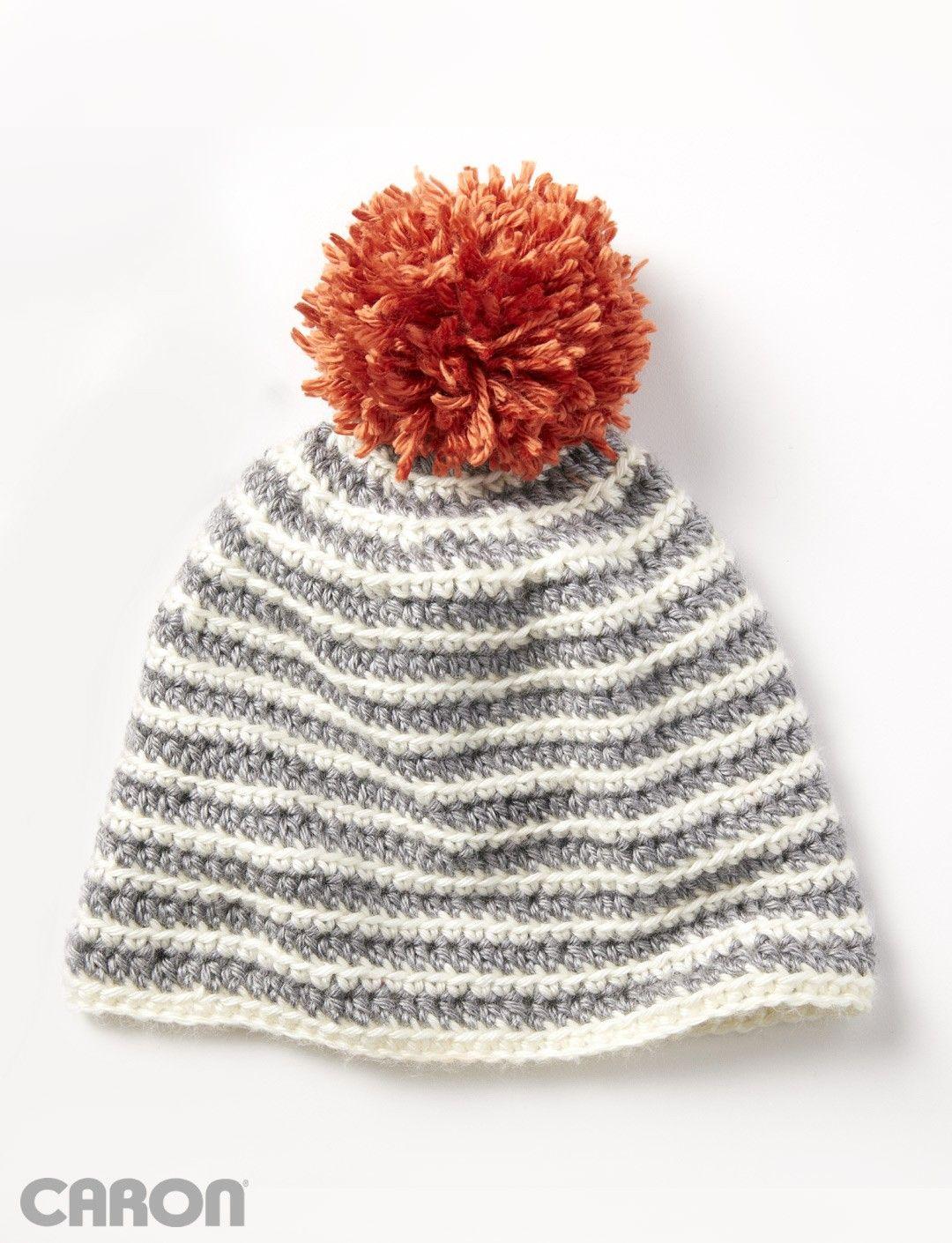 Yarnspirations.com - Caron Striped Right Hat - Patterns ...