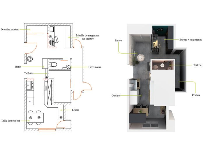 Aménagement et décoration d\u0027un appartement à Lyon Projet de l
