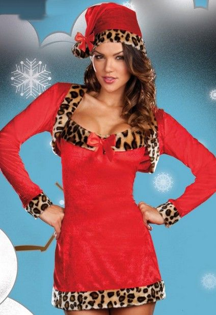 2d8a2963c9135 Western Style Night Club Sexy Leopard Christmas Dress