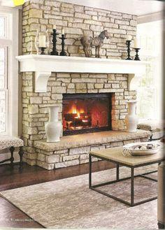 fieldstone fireplace white shelves | Wrap around mantle for Master | Beach house | Pinterest ...