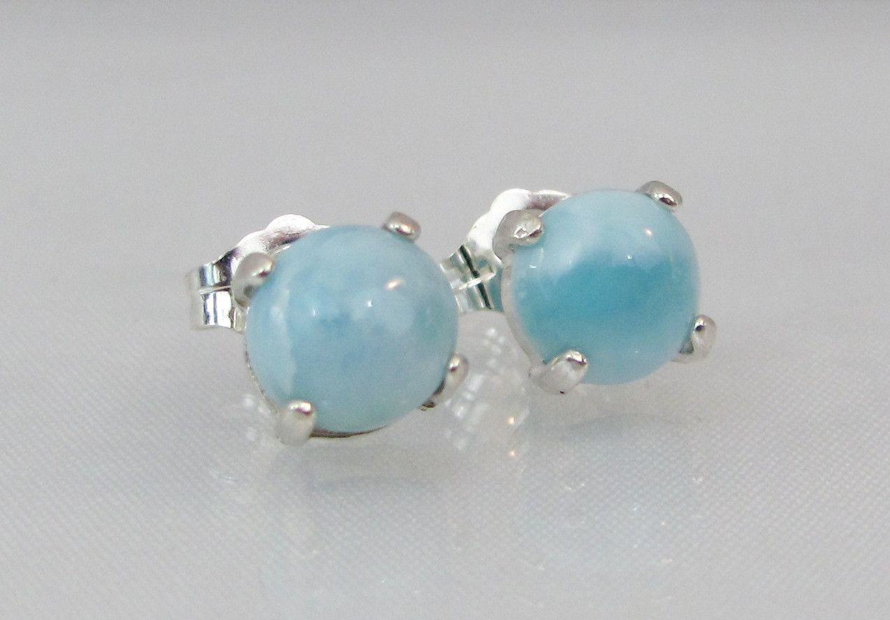 New Natural Larimar Cushion Cut Earring /& Pendant .925 Sterling Silver Set
