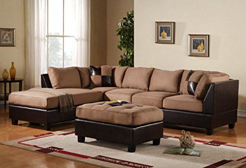 Leather Sofas  Piece Modern Microfiber Faux Leather Sectional Sofa with Ottoman Color Hazelnut Beige