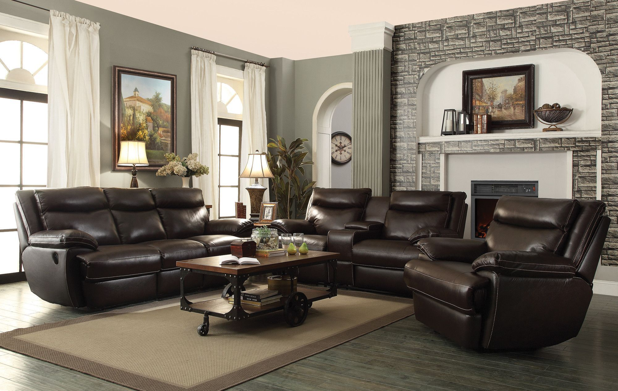 MacPherson Power Leather Reclining Sofa Sofas
