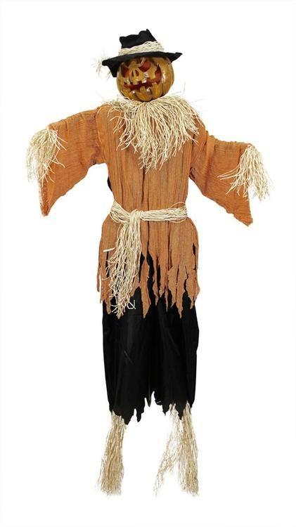 6\u0027 Lighted and Animated Creepy Jack-o\u0027-Lantern Scarecrow Halloween - halloween lighted decorations