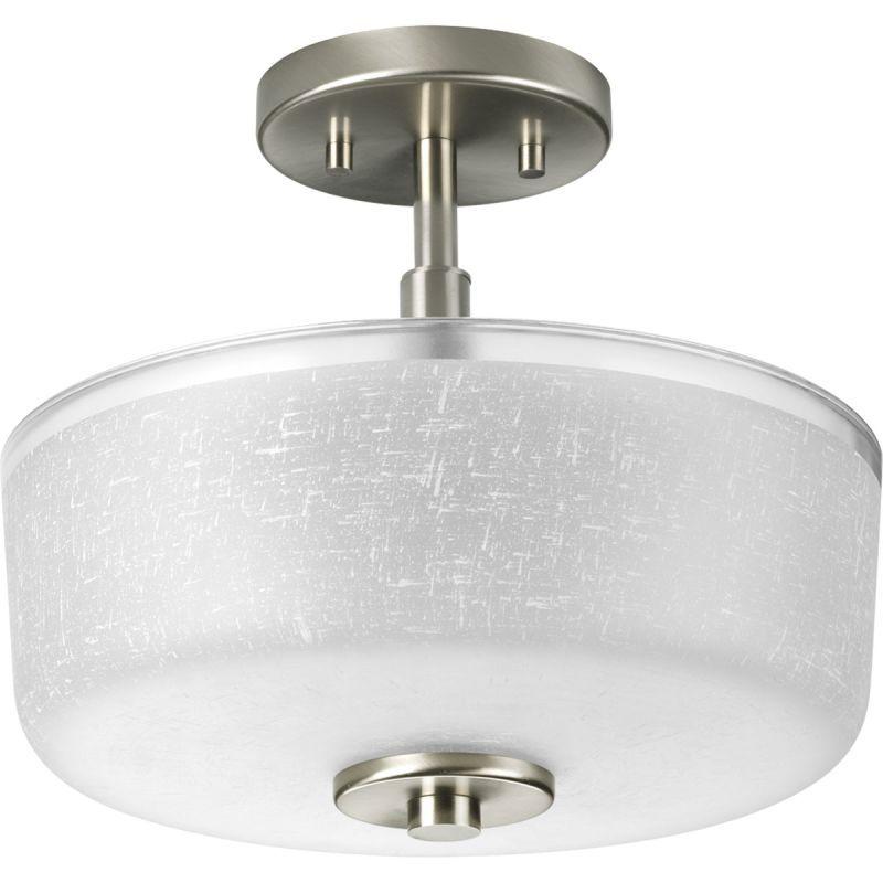 Progress Lighting P2851 Alexa 2 Light Semi Flush Mount Ceiling Fixture With Text Brushed Nickel Indoor