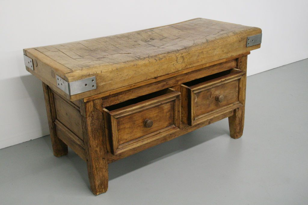 1800 S French Butcher Block Table W Drawers