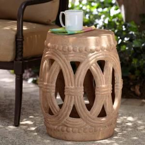 Gentil H Cast Stone Garden Stool In Ivory Finish,