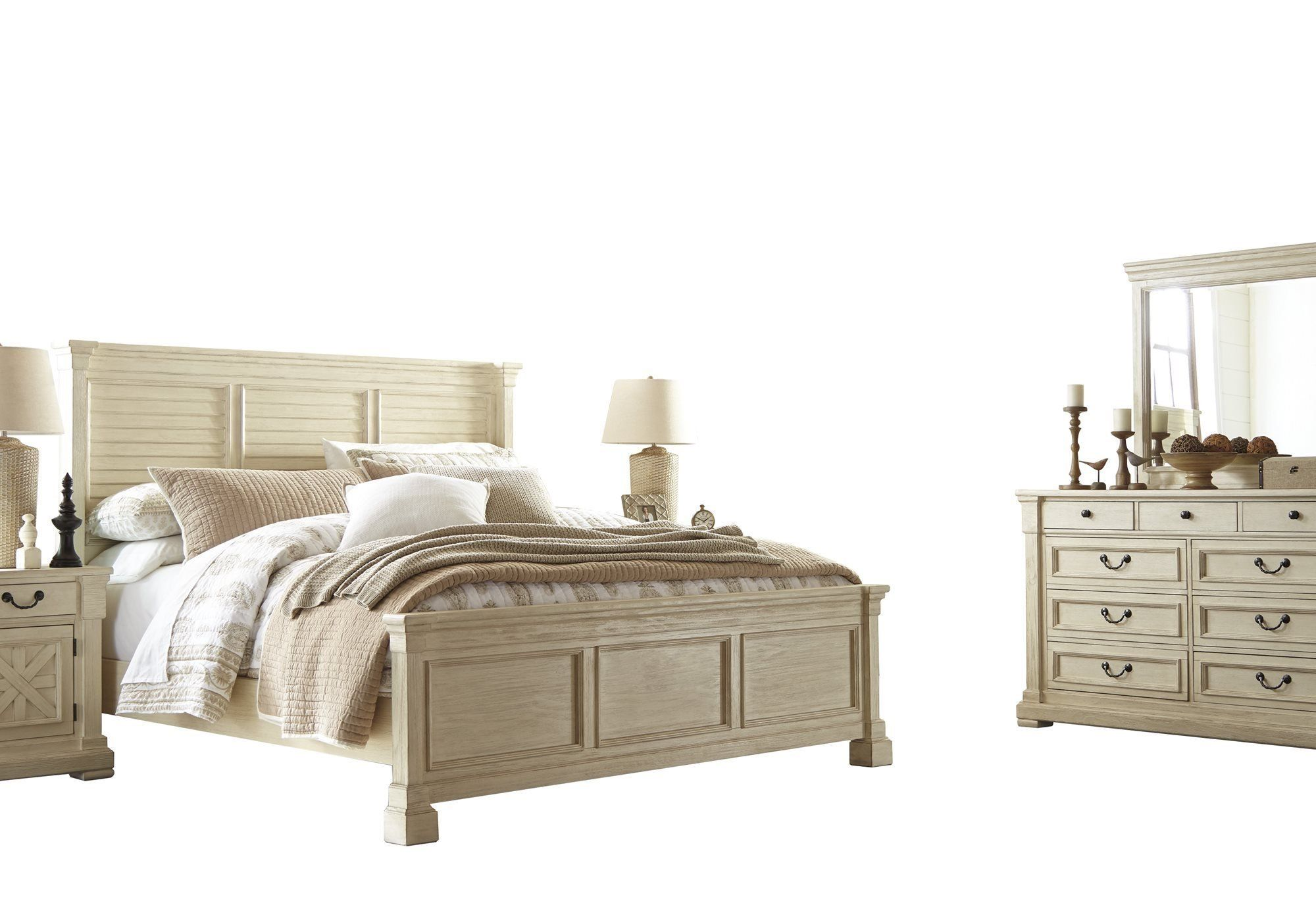 Best Ashley Bolanburg 5Pc Bedroom Set Cal King Louvered Bed Dresser Mirror Two Nightstand In Antique 640 x 480