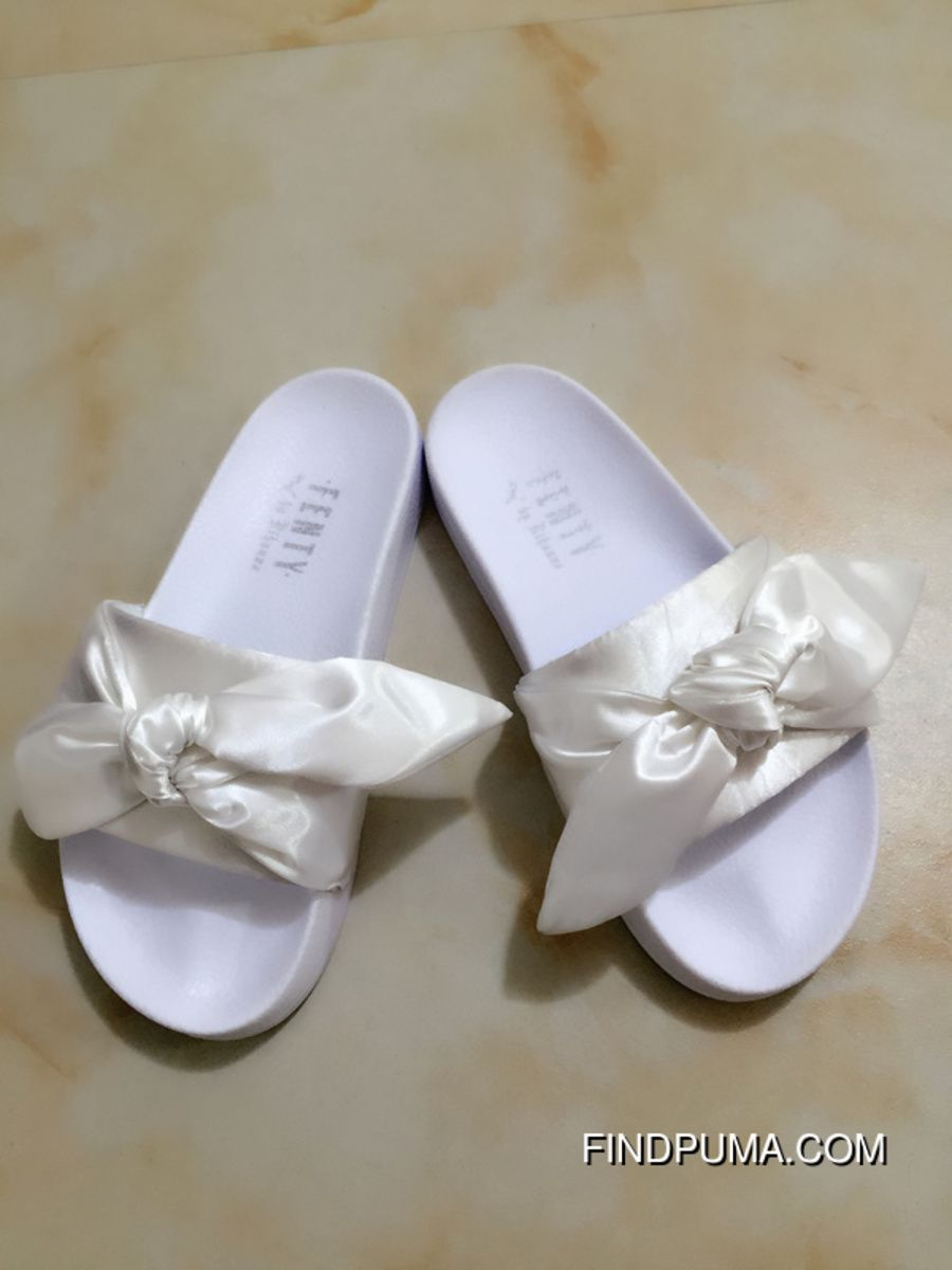 Puma X Fenty Bow Slides ButterFly White Women Sandals New