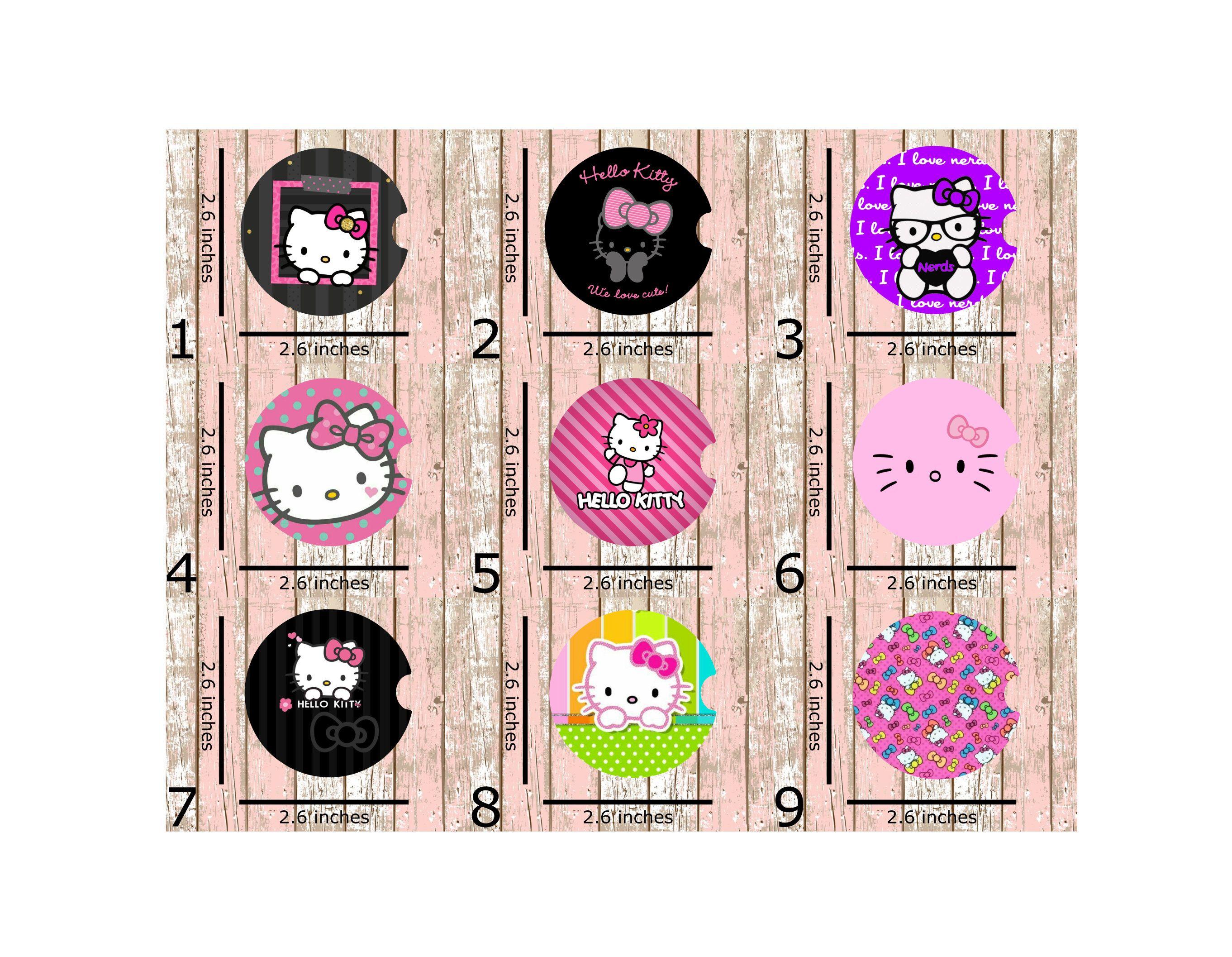 Hello Kitty Print Sublimation Car Coaster Set Includes 2