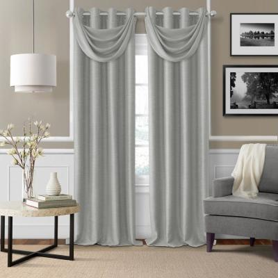 Elrene Bethany Sheer Overlay Blackout Window Curtain 23032gry The Home Depot Panel Curtains Elrene Home Fashions Grommet Curtains