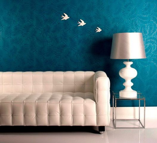 Stylish Blue Wallpaper Murals for Living Room Ideas  Blue Paint Living Room…