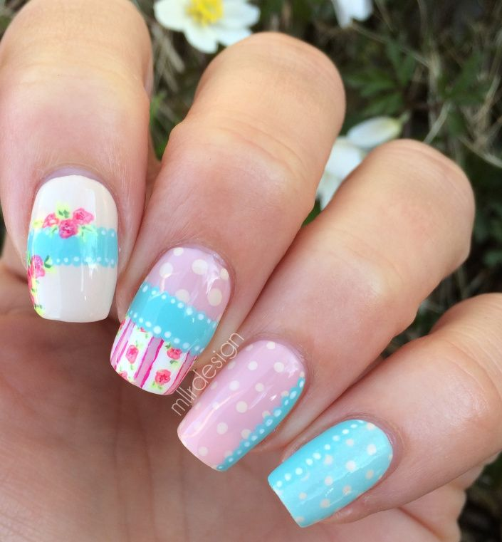 Shabby chic manicure ~ by Mllr Design   every nail\'s coming up roses ...