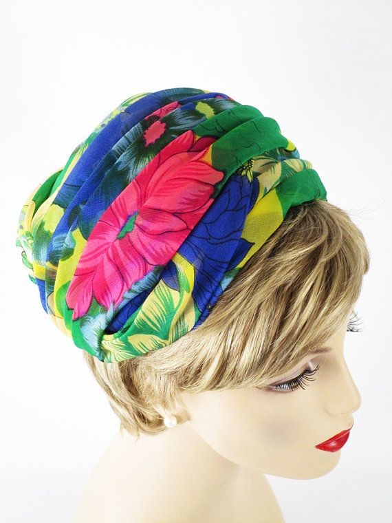 Vintage 1960s Multi Colored Draped Chiffon Turban Hat Sz 22