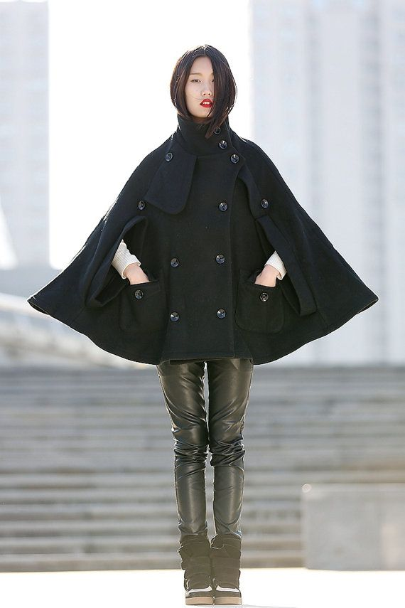 Winter Wool Cape Coat - Black Poncho Style High Collar Short Women