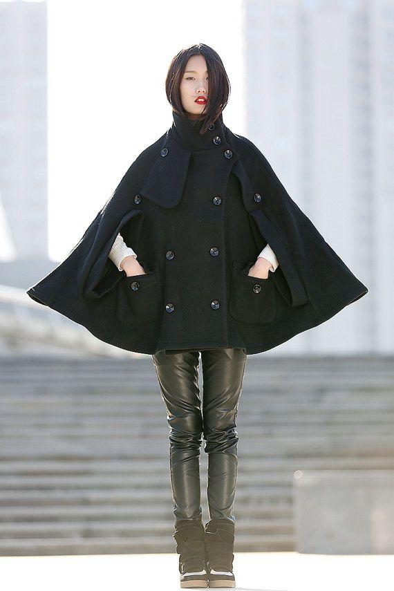 4aa74dd929d5 High Collar Wool Cape Coat Winter Wool Cape for Women in black -CF045