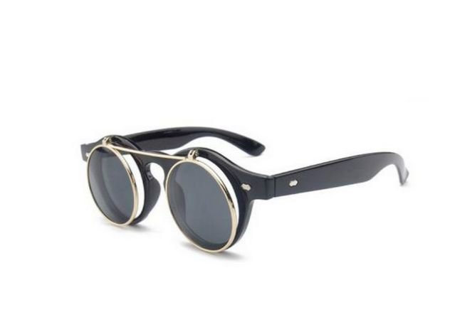 ccbdd33bf0 Vintage Retro Steampunk Round Circle Flip Up Clear Lens Glasses ...