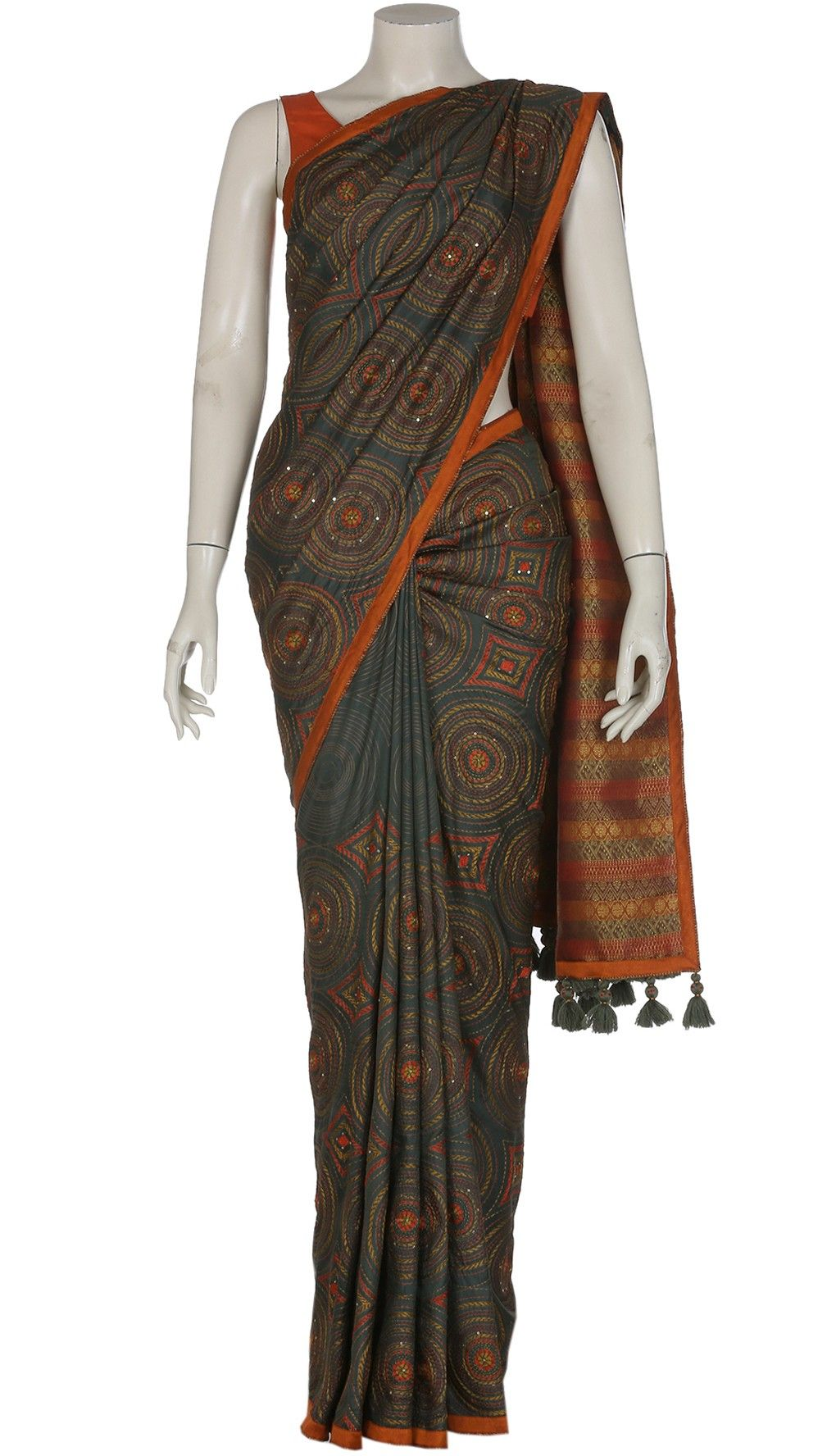 Deep Olive Green Printed and Nakshi Kantha Embroidered Silk Saree