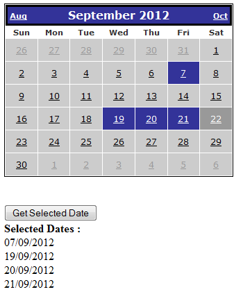 Multiple selection of date in asp net calendar control with C#