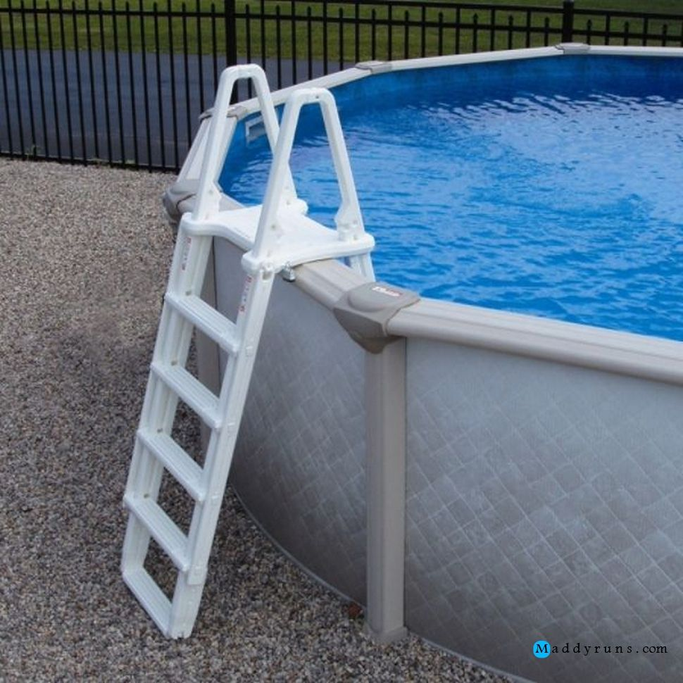Swimming pool evolution a frame ladder swimming pool for Above ground pool ladder ideas