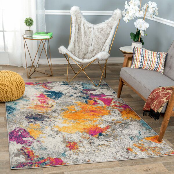 Noires Contemporary Power Loom Yellow Blue Pink Rug Contemporary Area Rugs Modern Area Rugs Area Rugs