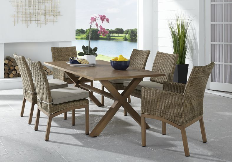Southport Tan 7 Pc Outdoor Dining Set Outdoor Dining Set Outdoor Dining Pool Decor