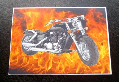 Free Harley Birthday Cards | Harley Davidson in Flames motorbike Biker Birthday or Any Occasion ...