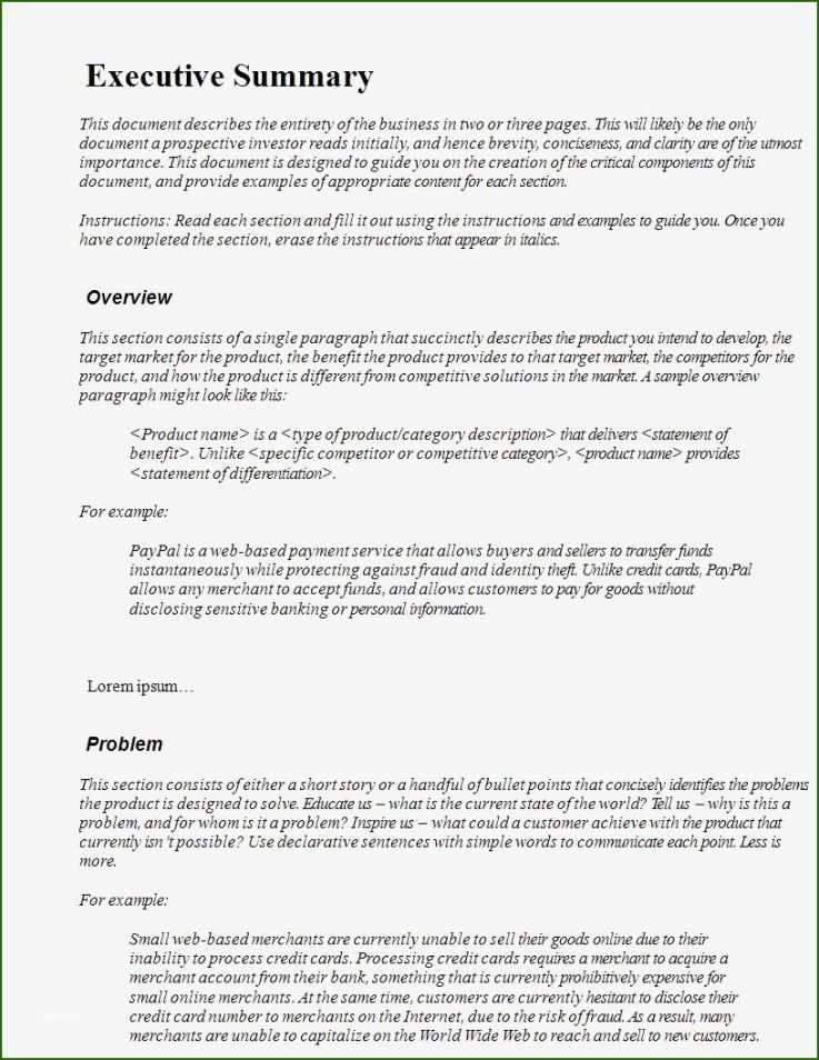 10 Exceptional Executive Summary Template Pdf 2020