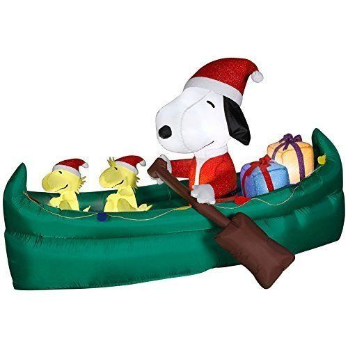6' Animated Airblown Snoopy in Canoe Peanuts Christmas Inflatable ...