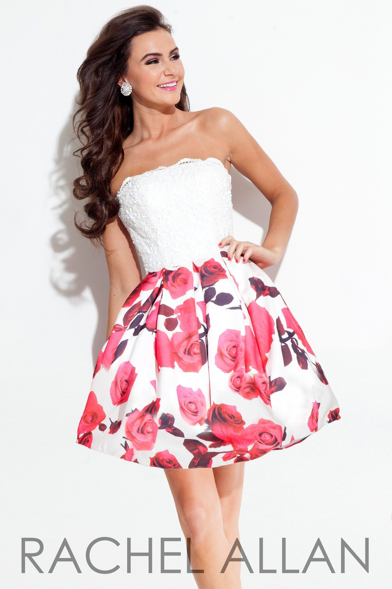 Pink dress hoco  This dress has a strapless lace top with a floral print skirt and