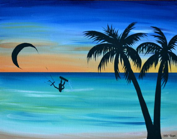 Original Acrylic Painting On 11x14 Canvas Signed And Dated By Artist This Is Inspired Many Days Of Watching My Husband Windsurf