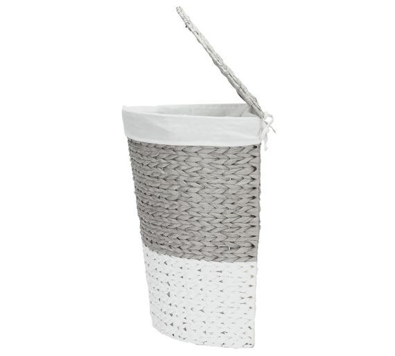 Home Corner Rope Laundry Bin Grey And White At Argos Co Uk Visit To Online For Linen Baskets Bins Cleaning