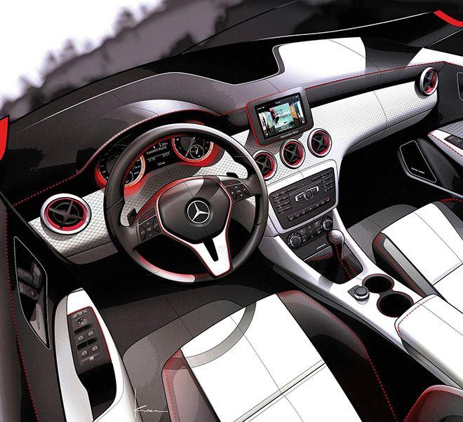 An interior draft of a future Mercedes-Benz vehicle.