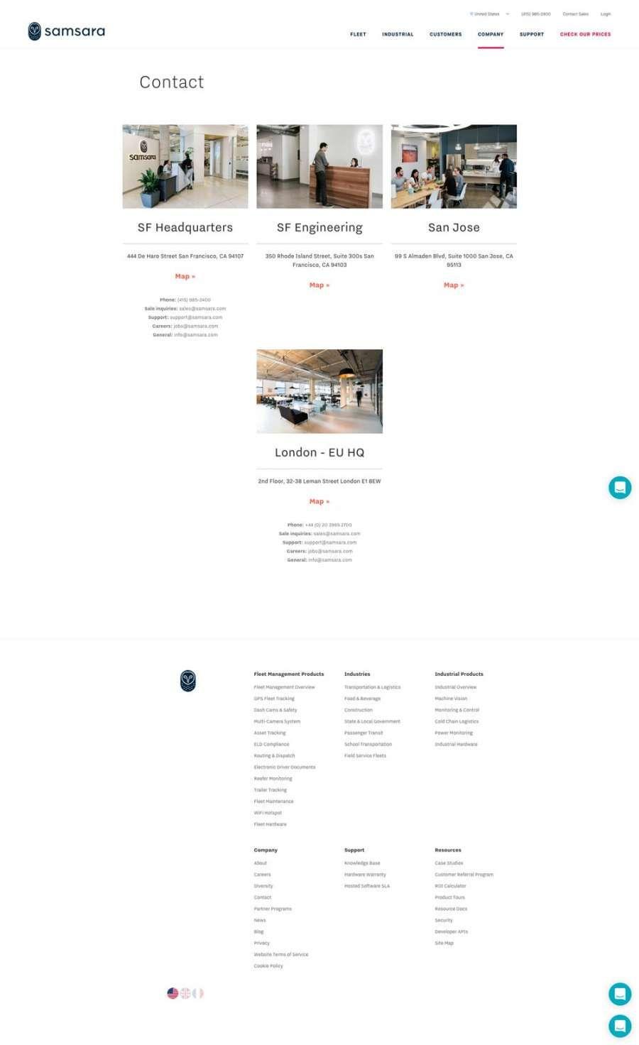 Samsara Industrial Contact Us web page design