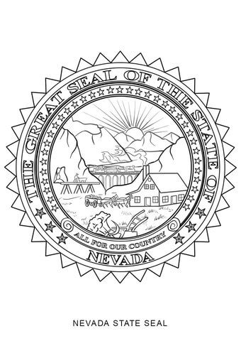 Nevada State Seal Coloring Page With Images Flag Coloring