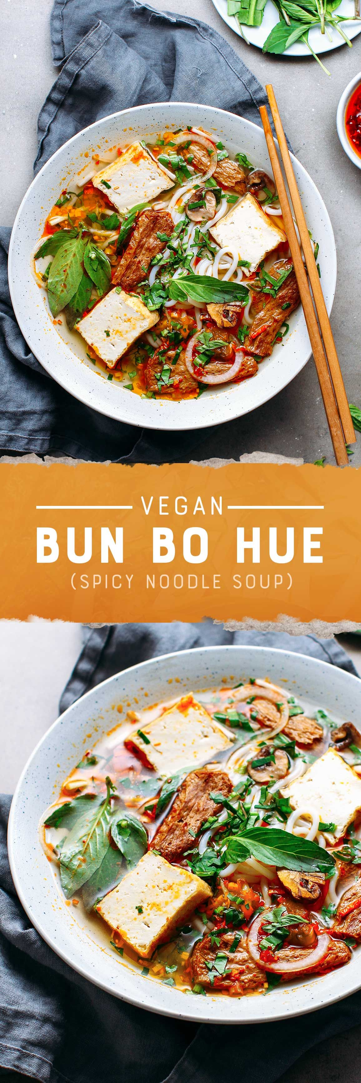Incredibly flavorful Vietnamese noodle soup that comes homemade satay fried tofu sautéed mushrooms and vegan beef