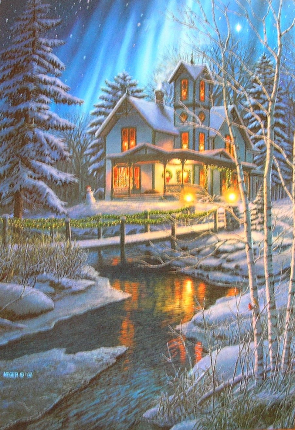 Leanin\' Tree James Meger Home Pine Trees Northern Lights Christmas ...