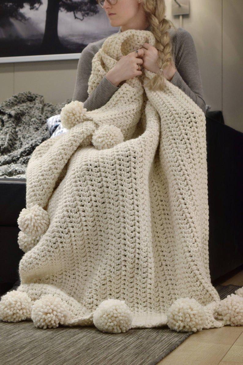 CROCHET PATTERN ⨯ Chunky Blanket Crochet Pattern,